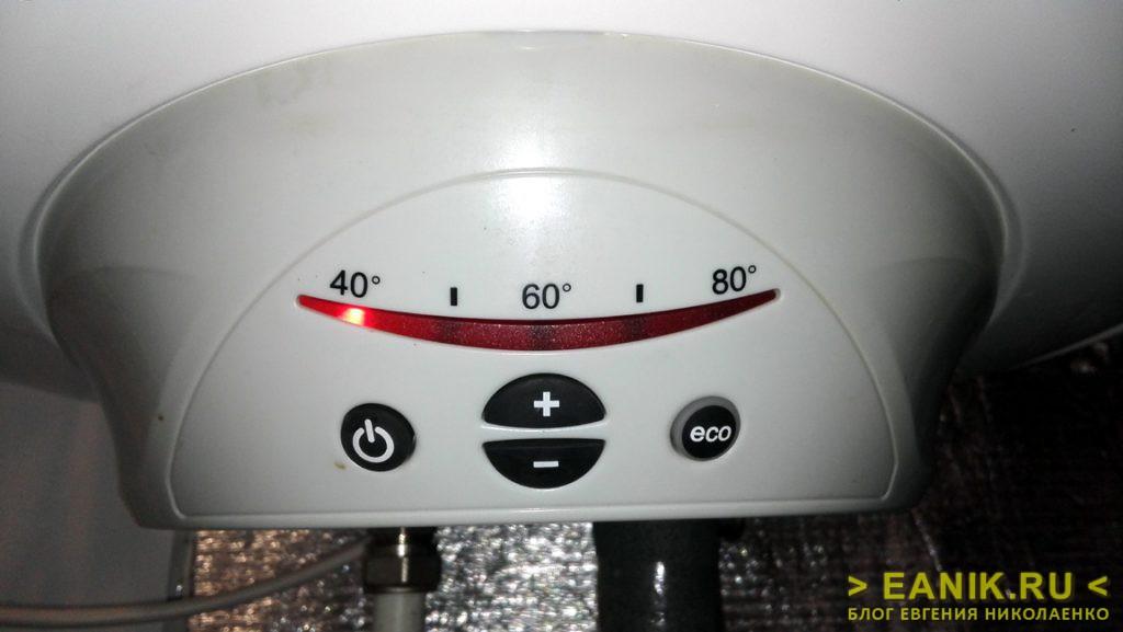 Температура нагрева воды установлена на 40 градусов