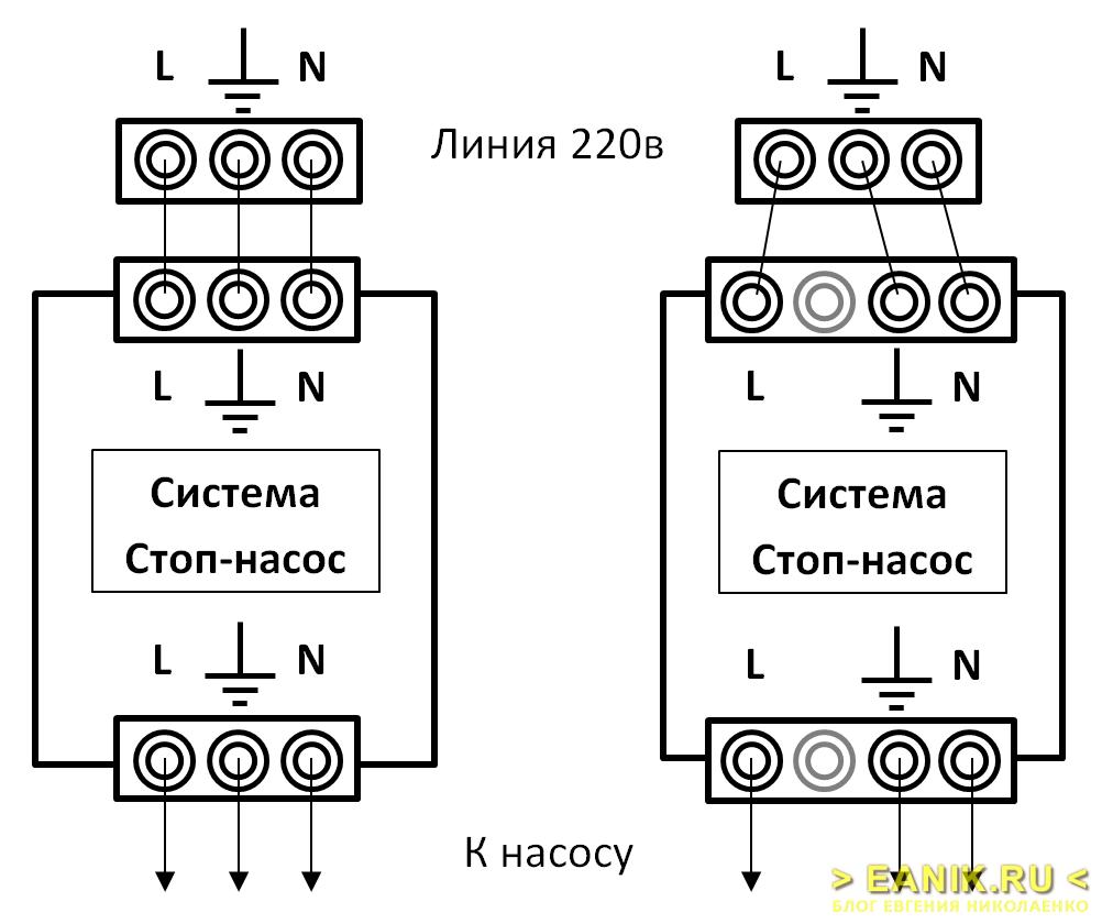 """Электрическая схема подключения системы """"Стоп-насос"""