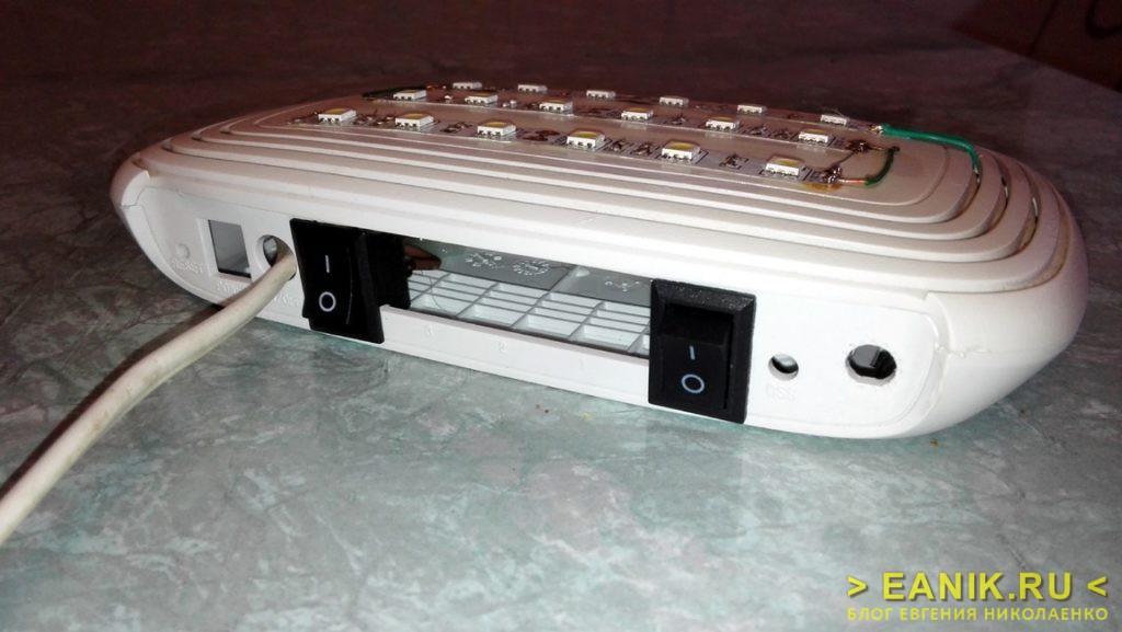 Автоматическое автономное освещение - вид сзади, выключатели